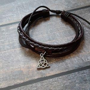 Celtic triquetra symbol leather bracelet